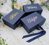 Personalized Navy Gift Box with Bow, magnetic catch lid, bridesmaid proposal box