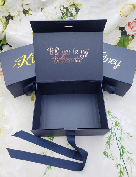 Personalized Navy Gift Box with Bow