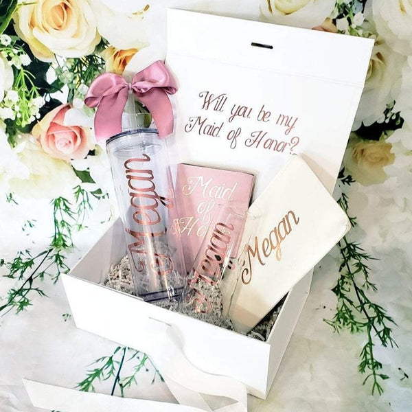 Personalized Bridesmaid Proposal Box with Magnetic Catch Lid, gift box set