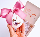 Will You Be My Bridesmaid Proposal Box with Christmas Ornament Bulb, Personalized Gift