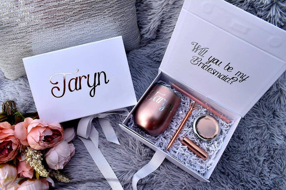Personalized Bridesmaid Proposal Gift Box with magnetic catch, optional wine tumbler gift set in Rose Gold