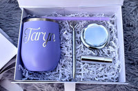 Personalized Bridesmaid Proposal Gift Box with magnetic catch, optional wine tumbler gift set in Lavender