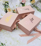 Personalized Rose Gold Gift Box with Bow, magnetic catch lid, bridesmaid proposal box