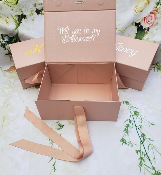 Personalized Rose Gold Gift Box with Bow