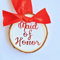 Bridesmaid Christmas Ornament, Maid of Honor, Personalized Gift