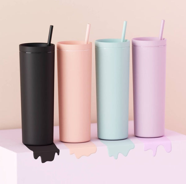 Blank Rubber Acrylic Tumbler with lid and straw