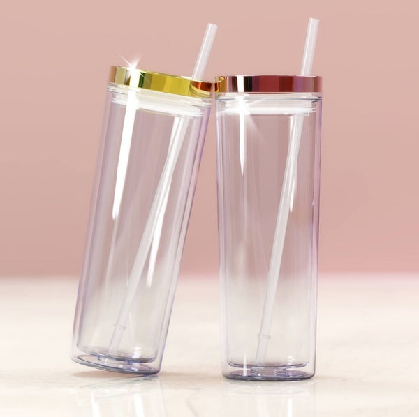 Glam Acrylic Tumbler with metallic gold or rose gold lid