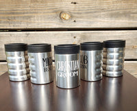 Personalized Stainless Steel Can Holder, groomsman gift, father's day, best man, bachelor party