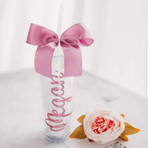 Personalized Bridesmaid Tumbler with Straw and Bow, wedding favor