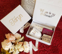 White & Burgundy Bridesmaid Proposal Box Set