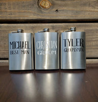Personalized Stainless Steel Flask, groomsman gift, father's day, gift for him