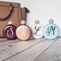 Personalized 5 oz. Stainless Steel Shimmer Flask with rhinestone lid, in white, pale blue, burgundy or rose gold