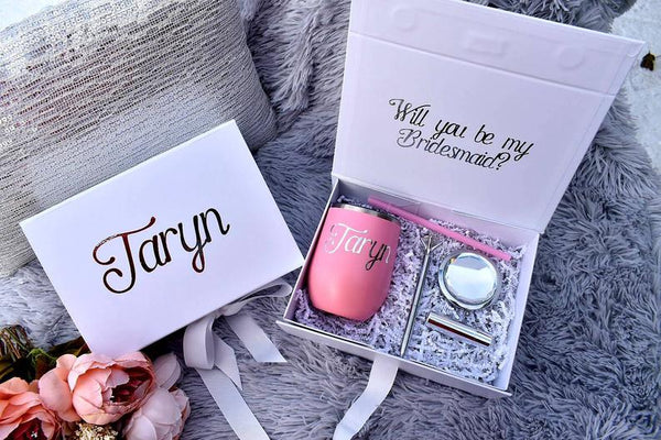 Personalized Bridesmaid Proposal Gift Box with magnetic catch, optional wine tumbler gift set in Pink