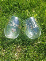 Personalized Wine Glass, 20 oz. stemless wine glasses, bridesmaid gift