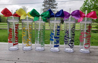 Personalized Tumbler with Straw and Bow, Perfect for sorority, cheerleaders and teachers!