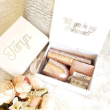 Personalized Bridesmaid Proposal Box Set in Rose Gold, bridesmaid gift