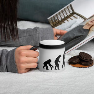 Truth About Evolution Matte Black Magic Mug