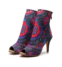 Load image into Gallery viewer, Latin Dance Peep Toe Booties. Soft Sole. Folkloric Pattern.