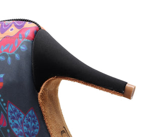 Latin Dance Peep Toe Booties. Soft Sole. Folkloric Pattern.