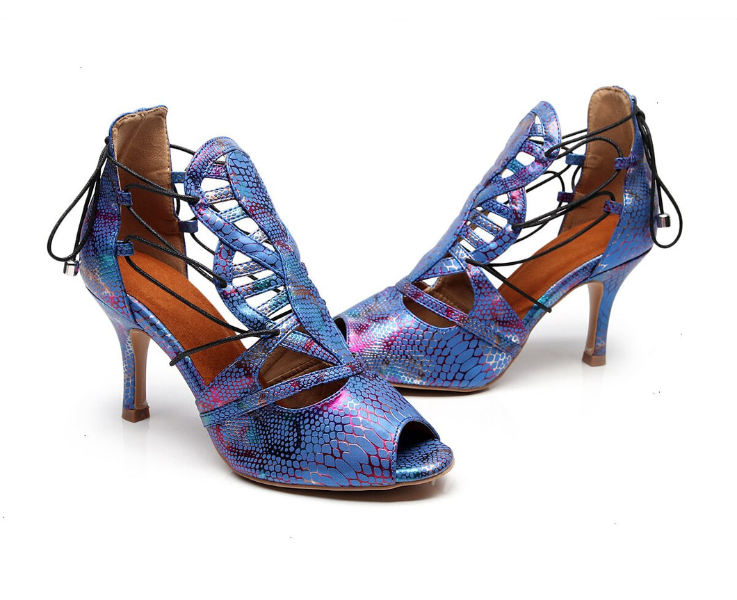 Argentine Tango Dance Shoes. Blue Chrome Python Lace-Up.