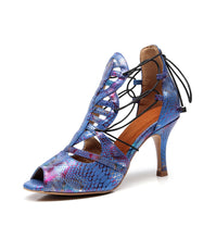 Load image into Gallery viewer, Argentine Tango Dance Shoes. Blue Chrome Python Lace-Up.