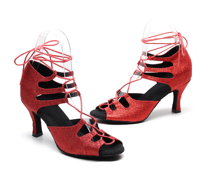 Latin Dance Shoes. Soft Sole. Hot Red Lace-up.