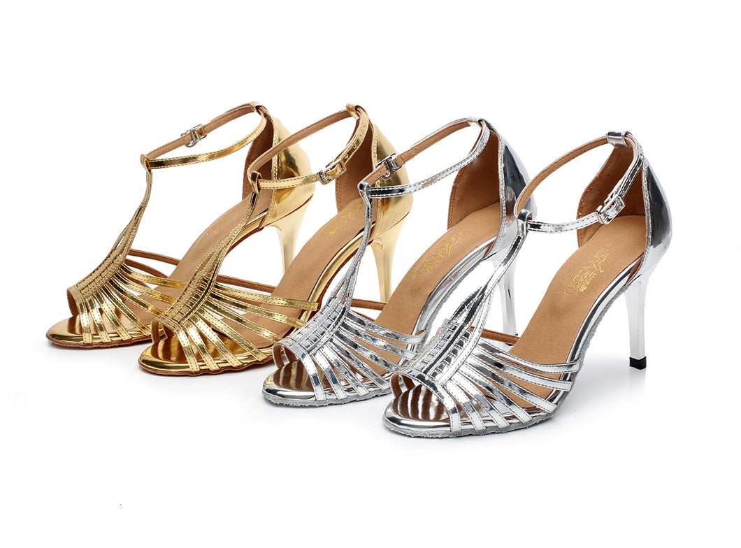 Latin Dance Classical Performance Sandals in Precious Metal (Custom Heel Height)