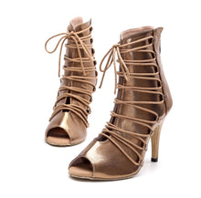 Load image into Gallery viewer, Latin Dance Shoes. Bronze Lace-Up Booties.  (Custom Heel Height)
