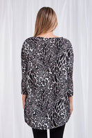 Caroline Morgan Animal Print Top - MULTI GREY
