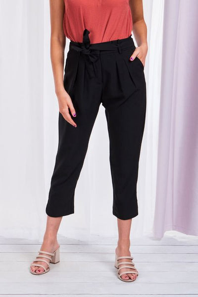 Caroline Morgan 7/8 Paperbag Waist Pants - BLACK
