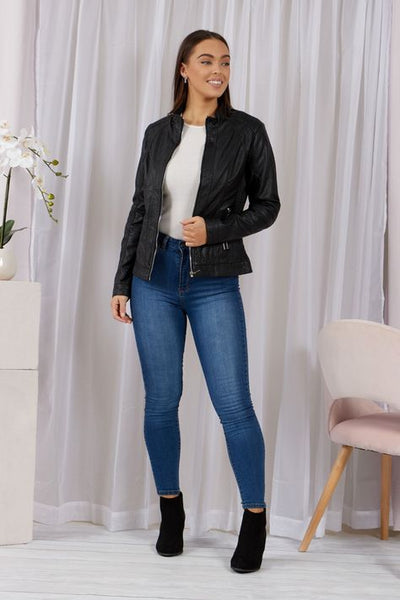 Caroline Morgan Faux Leather Jacket