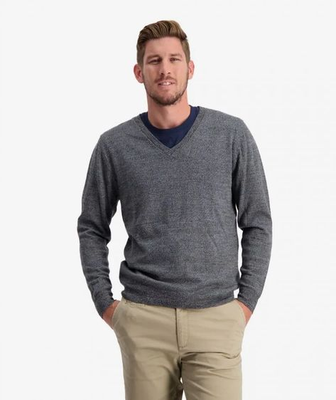 Swanndri Men's Aubury Merino Vee Neck Jumper - CHARCOAL