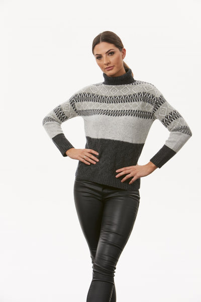 Jacquard and Cable Roll Neck Pullover