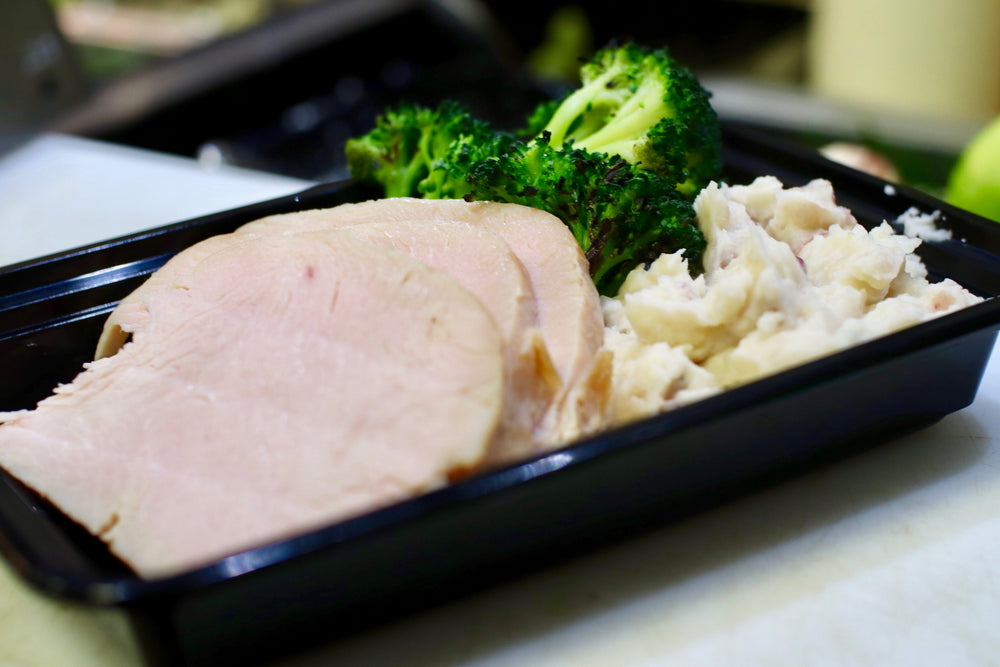 turkey meal with mashed potatoes and broccoli