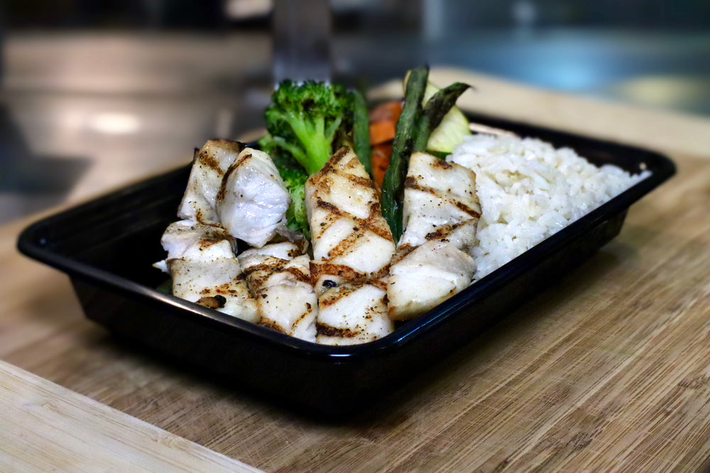 mahi-mahi with rice and veggies