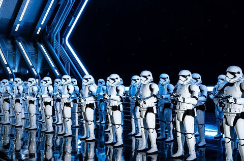 Stormtroopers in full gear from the 'Star Wars' franchise.