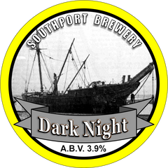 Dark Night. A circular badge bordered in yellow. The centre holds an image of the shipwreck of the barque, The Mexico. The brewery name is at the top of the image and the beer name and ABV are at the bottom.