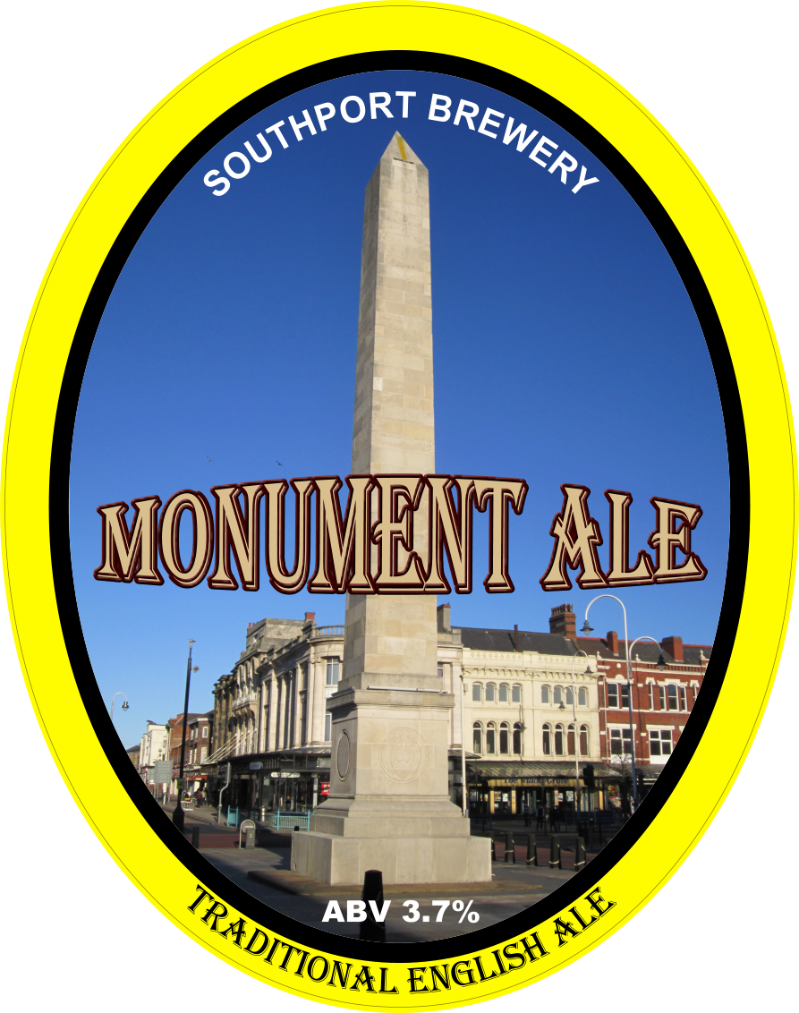 Momument Ale. An oval badge bordered in yellow with the image of the obelisk that is part of the War Memorial on Lord Street. The brewery name is at the top of the image, the beer name is in the centre, and the ABV is shown at the bottom.