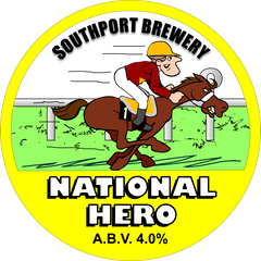 National Hero. A circular badge with a yellow background. In the bottom third of the image, the beer name and ABV are shown. The top two-thirds contains a cartoon-style image of a horse and jockey. The jockeys outfit and horse's colour are made to insinuate that it is supposed to be the multi-Grand National winner, Red Rum.