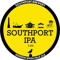 Southport IPA. A circular badge with a yellow background bordered with black. The brewery name and beer style are shown in white within the border. The beer name and ABV are in black in the centre of the badge with small images which relate to local landmarks and events just above.