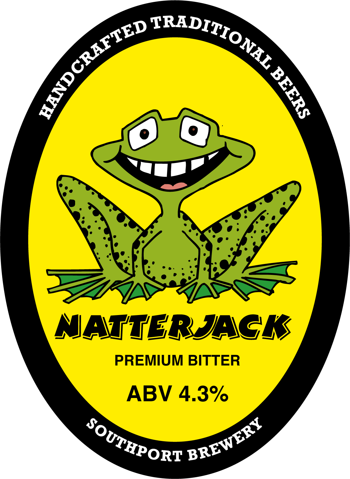Natterjack. An oval badge with a yellow background, bordered in black with the brewery name shown in white within it. A cartoon toad sits smiling in the foreground and the beer name and ABV are shown below.