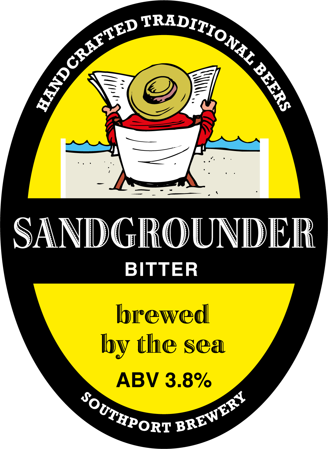 "Sandgrounder. An oval badge with a yellow background bordered by black. A horizontal thick black line with the name of the beer inside, splits the badge into 2 distict areas. In the top area, sits a cartoon-style tourist reading a paper whilst sitting on a deckchair. The bottom area includes the tagline ""brewed by the sea"" and the beer ABV."