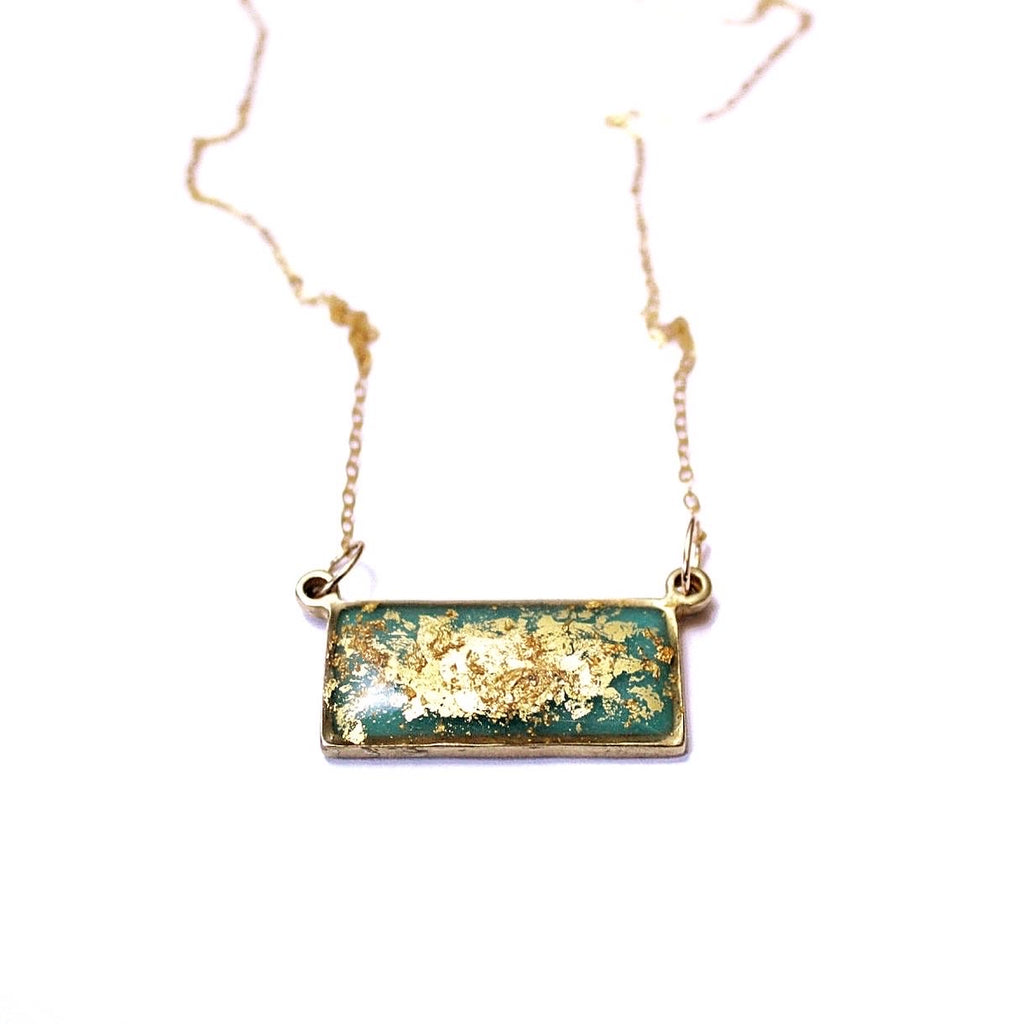 Malibu bar pendant bronze and 24k gold leaf