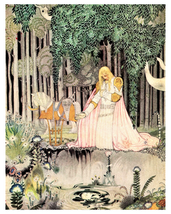Kay Nielsen folklore illustration poster is from a story called The Lassie and her Godmother