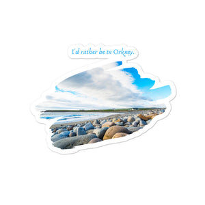 "Orkney Islands Stickers - ""I'd rather be in Orkney"" Beach Scene"