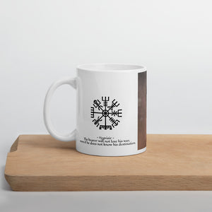 Viking Mug - Viking Warrior and Vegvisir Symbol of Guidance & Protection (male reference)
