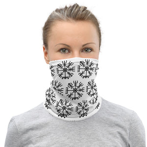 Neck Gaiter Mask - Vegvisir Viking Runic Compass, Black on White