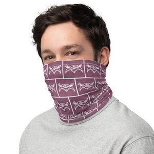 Neck Gaiter Mask - Broch of Burrian Pictish Symbol, White on Lavender