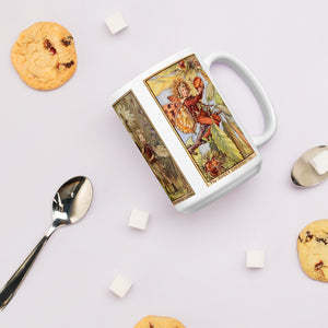 Fairytale & Folklore Mug - Cecily Mary Barker's Flower Fairies: Beech Tree, Rush Grass/Cotton Grass, Sweet Chestnut on shop.Orkneyology.com