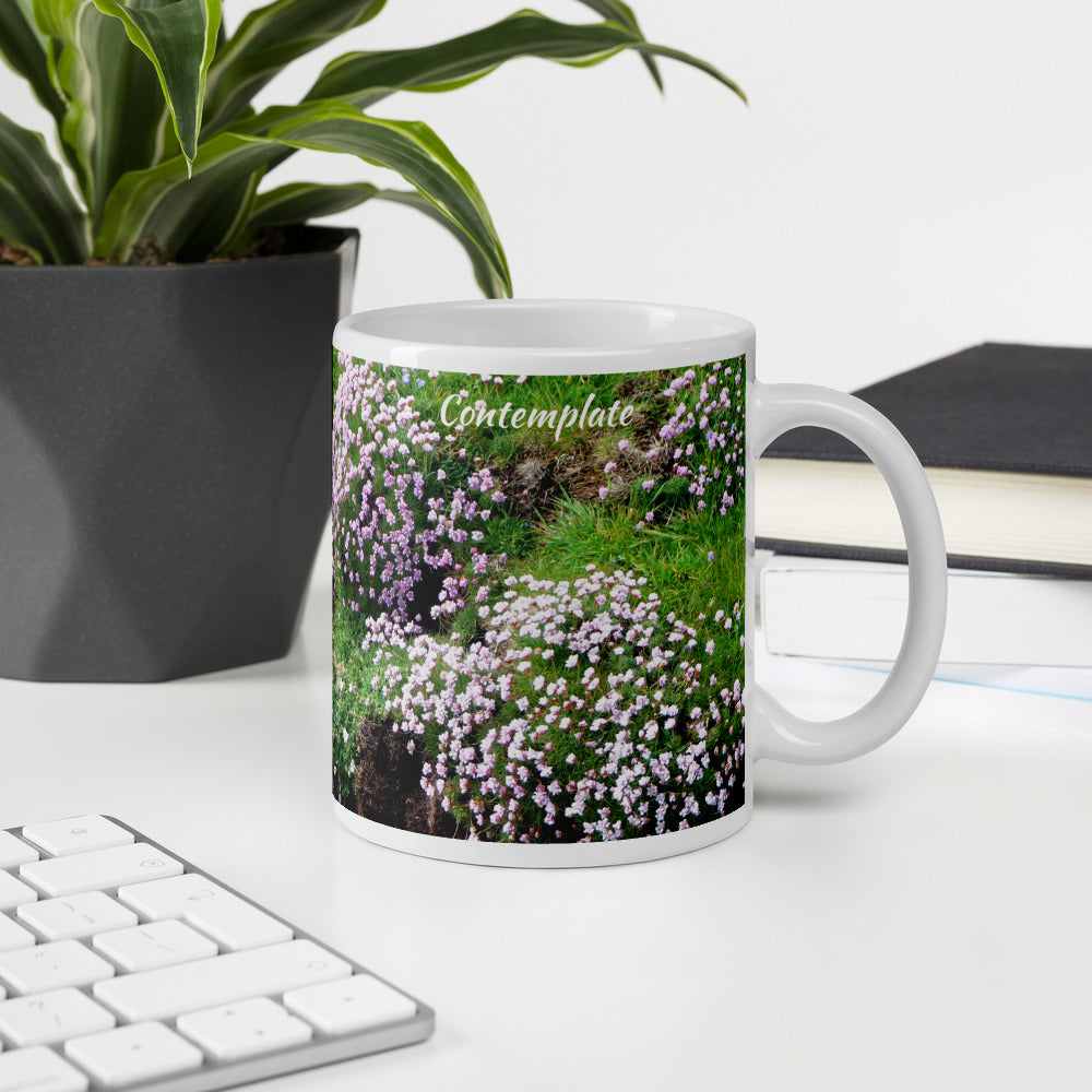 Island Time Mug - Contemplate, Sea Pinks, Orkneyology.com, Orkney Islands, Scotland